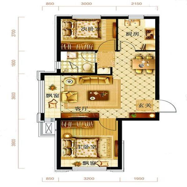 73㎡2室2厅1卫