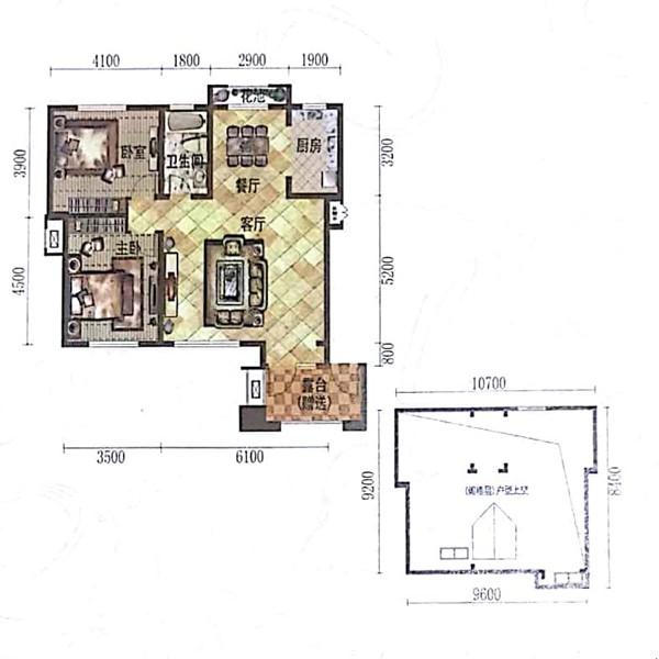 100㎡2室2厅1卫