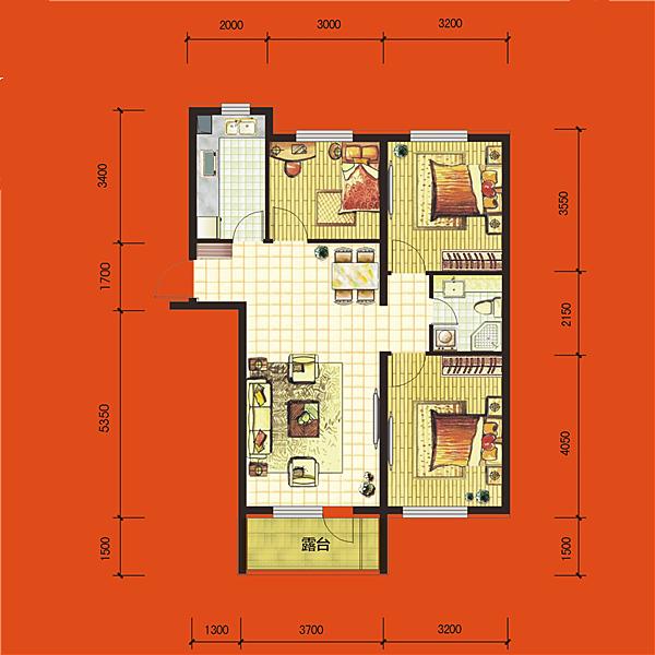 华府丹郡·悦湖高层B4#101平三室两厅一卫E2户型