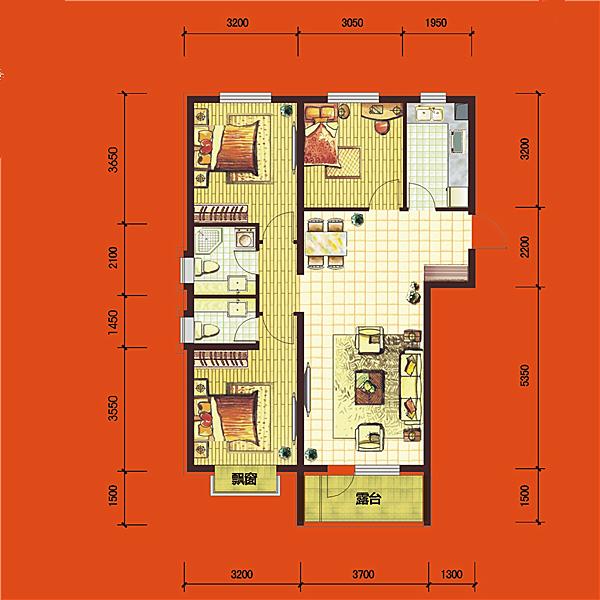 华府丹郡·悦湖高层B4#109平三室二厅二卫E3户型