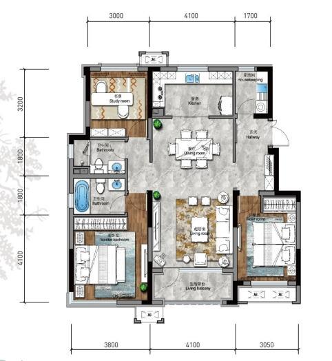 115㎡3室2厅2卫