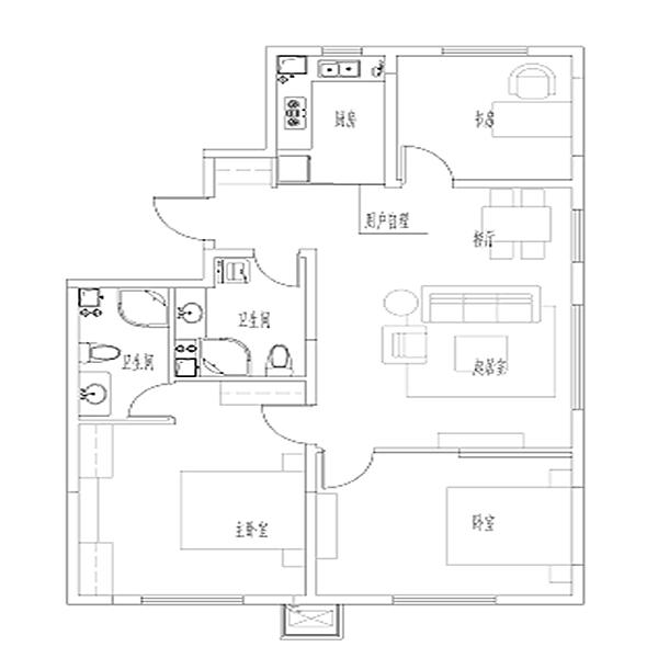 亚泰城高层125平3室2厅2卫户型