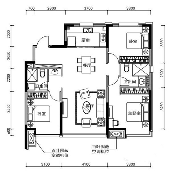 130㎡3室2厅2卫