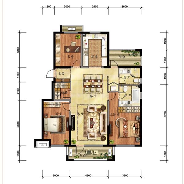 136平3室2厅2卫