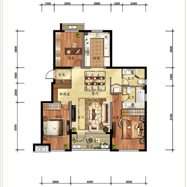 120平3室2厅2卫
