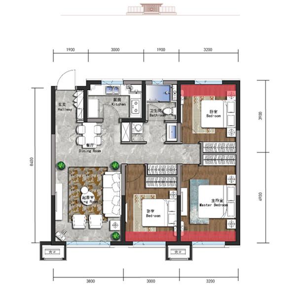 105㎡3室2厅1卫