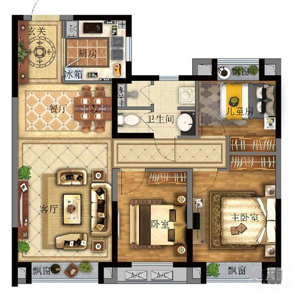 95㎡3室2厅1卫