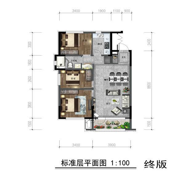 方正紧凑三房,温馨实用;南北通透,充分保证室内采光;主卧开间3.4米,轻松放至大床;独立玄关、明卫等细节设置,更好地保证居住舒适性。