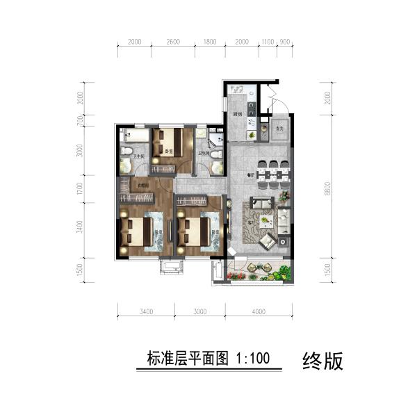 三面宽朝南,采光面更大;4米客厅开间,连接开敞阳台,延展使用空间,同时更好的实现采光;主卧套间,含步入式衣帽间及独立卫生间,更显私密。