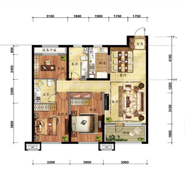 115平3室2厅2卫
