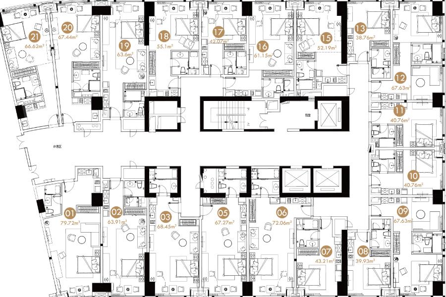 2#-B栋31-41北半层剖面图