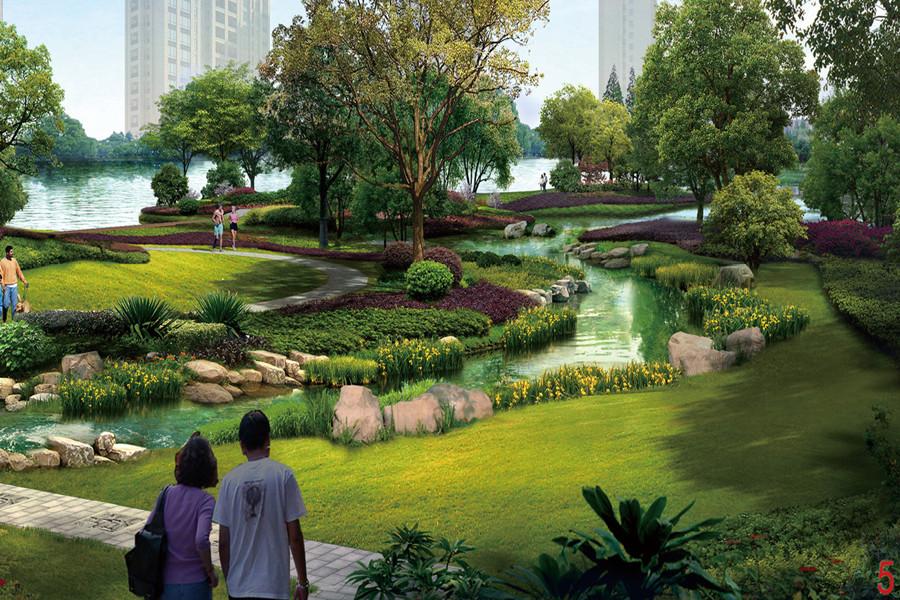 恒大滨江左岸园区景观效果图
